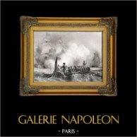 Napoleone che Pulisce il Fuoco di una Fregata Inglese | Incisione su metallo originale disegnata da K. Girardet et A. Morel Fatio, incisa da J-J. Outhwaith. 1