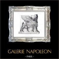Bevingad tjur för Assyrier från utfärda utegångsförbud för av slottet av konungen Sargon  - Sargon Palatset  (Khorsabad - Irak) | Original stålstick efter teckningar och graverade av Saint-Elme Gautier. 1882