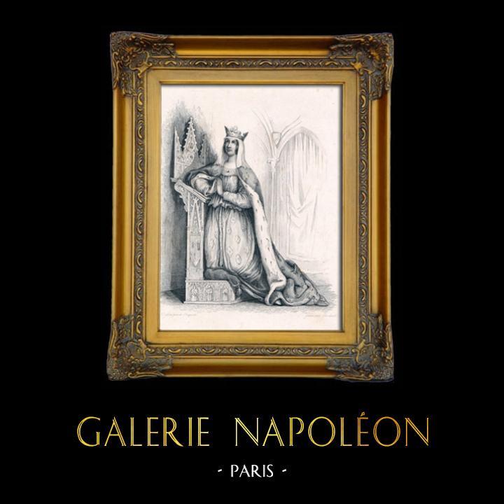 Gravures Anciennes & Dessins | Portrait en pied de Blanche de Castille - Reine de France (1188-1252) | Taille-douce | 1840