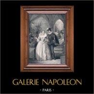 La Dame de Monsoreau par Alexandre Dumas | Gravure sur acier originale dessinée par J. David, gravée par Audibran. c1850