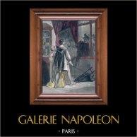 La Dame de Monsoreau par Alexandre Dumas | Gravure sur acier aquarellée originale dessinée par J. David, gravée par Pardinel. c1850