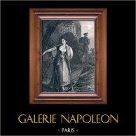 Jeanne de Naples par Alexandre Dumas | Gravure sur acier originale dessinée par F.P. Stephanoff, gravée par W. Chevalier. c1850