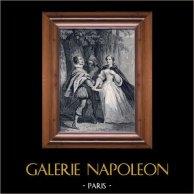 Les Quarante Cinq par Alexandre Dumas | Gravure sur acier originale dessinée par Charpentier, gravée par Ch. Colin. c1850