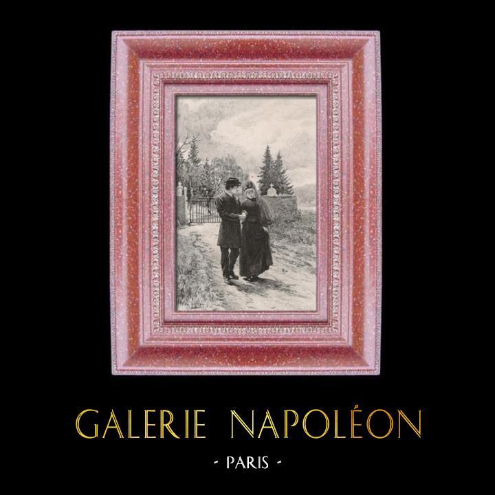 Gravures Anciennes & Dessins | Le Retour du Cimetière | Taille-douce | 1880