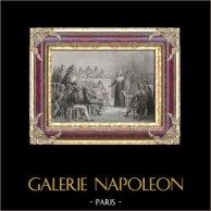 Révolution Française : Marie-Antoinette au Tribunal Révolutionnaire (1793) | Gravure sur acier originale dessinée par Raffet, gravée par Lerouge. 1836