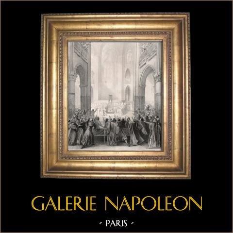 États Generaux de Paris sous Philippe de Valois en 1328 (Jean Alaux) | Lithographie originale dessinée par Loire d'après J. Alaux, imprimée par Petit & Bertauts. 1841