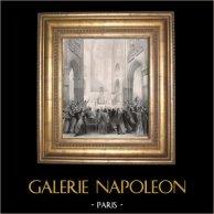 Stati Generali di Parigi sotto Filippo VI di Francia in 1328 (Jean Alaux) | Litografia originale disegnata da Loire secondo J. Alaux, stampata da Petit & Bertauts. 1841