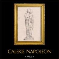 Escultura de mármol de la Virgen María y el niño Jesús por Eugène Andre Oudine (Paul Flandrin) | Original litografia dibujado por Gset según P. Flandrin, imprimido por Grégoire & Deneux. 1842