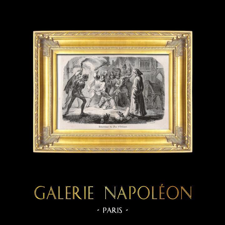 Gravures Anciennes & Dessins   Assassinat du Duc d'Orléans à Paris (23 novembre 1407)   Taille-douce   1826