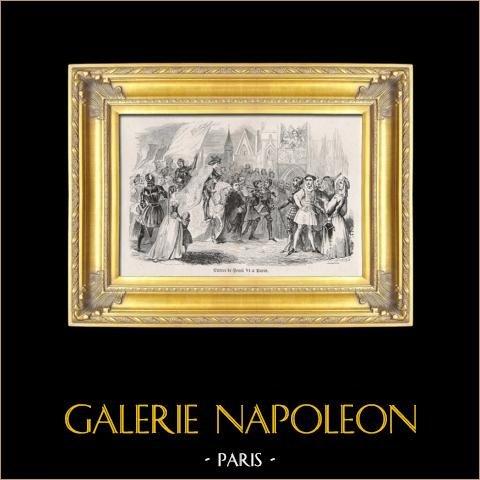 Entrée de Henri VI dans Paris avant son couronnement  (16 décembre 1431) | Gravure sur acier originale dessinée par J. Thompson d'après R. Fleury, gravée par J. Thompson. 1826