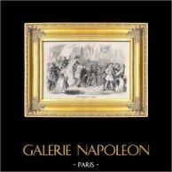Entrada de Enrique VI en París antes de su Coronación (16 de diciembre de 1431) | Original acero grabado dibujado por J. Thompson segun R. Fleury, grabado por J. Thompson. 1826
