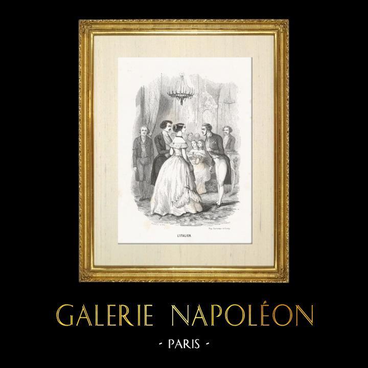 Gravures Anciennes & Dessins   Scène de genre, Costume et Tradition du Monde : L'Italien (Italie)   Taille-douce   1892