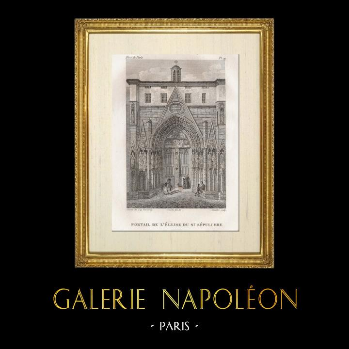 Antique Prints & Drawings | History and Monuments of Paris - Door of the Church of the Holy Sepulchre (eglise du Saint Sepulchre) | Intaglio print | 1828