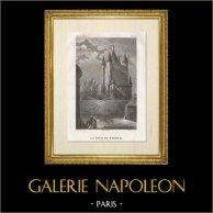 Storia e Monumenti di Parigi - La Torre del Tempio | Incisione su acciaio originale disegnata da Civeton, incisa da Fontaine, Couché fils direxit. 1828