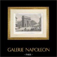 Storia e Monumenti di Parigi - Vista della Porte Saint Martin | Incisione su acciaio originale disegnata da Civeton, incisa da Pfitzer, Couché fils direxit. 1828