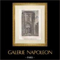 Historia och Monument av Paris - Dörr av Kapell Saint Yves | Original stålstick efter teckningar av Civeton efter Garnerey, graverade av J.M. Fontaine, Couché fils direxit. 1828