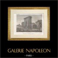 Historia y Monumentos de París - Puerta Saint Denis (Porte Saint Denis) | Original acero grabado dibujado por Civeton, grabado por Couché père, Couché fils direxit. 1828