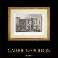 Historia y Monumentos de París - Fuente de las Cuatro Temporadas (Fontaine des Quatre Saisons) | Original acero grabado dibujado y grabado por Rouargue frères. Coloreado a mano de epoca. 1836