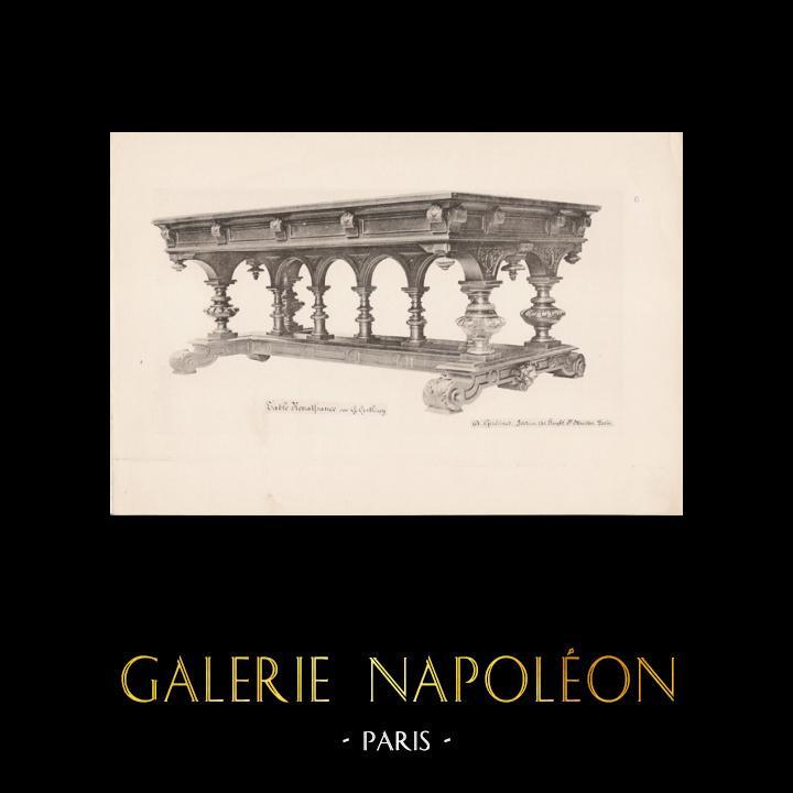 Gravures Anciennes & Dessins | [06/56] - Meubles en Bois Sculpté et Sculptures sur Bois par Gustave Gallerey - Table de Style Renaissance | Planche | 1894