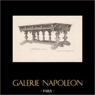 [06/56] - Antique french carved wooden furnitures and Antique Woodcarving by Gustave Gallerey - French Renaissance Style Table | Plate In-4 printed in collotype on ivory paper by A. Guérinet and Larger. 1894