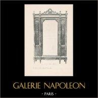 [09/56] - Antiguos muebles franceses en madera tallada y grabados sobre madera por Gustave Gallerey - Armario Estilo Luis XVI (Louis XVI)