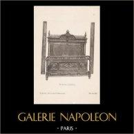 [11/56] - Französische Antike Möbel - Geschnitzte Hölzerne - Antikes Gravuren in Holz durch Gustave Gallerey - Möbelstil - Der Stil Louis XII - Bett
