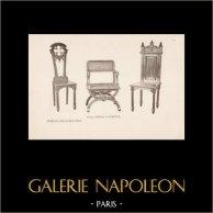 [38/56] - Móveis Artesanais em Madeira Esculpida e Esculturas em Madeiras de Gustave Gallerey - Sede, Cadeira e Poltrona de Estilo Gótico