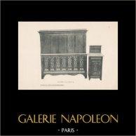 [42/56] - Móveis Artesanais em Madeira Esculpida e Esculturas em Madeiras de Gustave Gallerey - Cama de Estilo Gótico