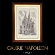 Histoire et Monuments de Paris -    La Sainte Chapelle au Palais de Justice (France) | Gravure sur bois  dessinée par Fellmann, gravée par Gerard. 1881