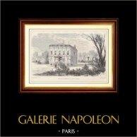 Storia e Monumenti di Parigi - Residenza de Gioachino Rossini - Passy - Bois de Boulogne (Francia) | Incisione xilografica su legno disegnata da Bertrand, incisa da E.R. 1881
