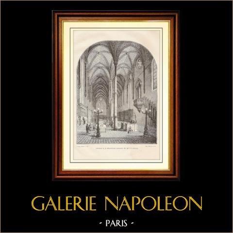 História e Monumentos de Paris - Interior da Biblioteca restaurada das Artes e Ofícios | Gravura em madeira desenhada por Parent, gravada por Gérard. 1881
