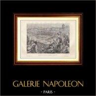 Historia y Monumentos de París - Revolución Francesa - Lucha Naval sobre el Sena  (1790) | Grabado en madera dibujado por H. de La Charlerie, grabado por Jahyer. 1881
