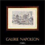 Histoire et Monuments de Paris - Démolition des Anciennes Barrières de Paris | Gravure sur bois dessinée et gravée par Thorigny. 1881