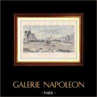 Historia och Monument av Paris - Spången av Saint Louis överbryggar att förbinda ön Saint Louis till Notre Dame | Trästick efter teckningar och graverade av Provost. 1881