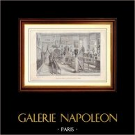 Historia y Monumentos de París - Museo de las Artes Decorativas en el Pavillon de Flore - Salón de los Muebles | Grabado en madera dibujado por Massier, grabado por L. Dumont. 1881