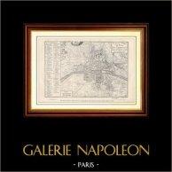 Antiguo Mapa de París bajo el Reino de Carlos VII (1422) hasta el Final de el Reino de Enrique III (1589) | Mapa grabado por Yves & Barret. 1881