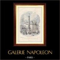 Histoire et Monuments de Paris - Ancienne Colonne sur la Place du Chatelet à Paris (1858) | Gravure sur bois anonyme. 1881