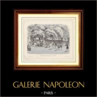 Historia y Monumentos de Paris - Primeras Pruebas de Riego Pública en Agosto de 1791 | Grabado en madera dibujado y grabado por J. Ouariley. 1881
