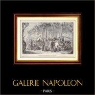 Historia och Monument av Paris - Campa av Kosacker och de engelska soldaterna på Champs-Elysées i Paris (1815) | Trästick efter teckningar av F. Philippoteaux, graverade av E. Deschamps. 1881