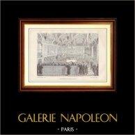 Histoire et Monuments de Paris - L'Assemblée du Parlement en 1787 | Gravure sur bois dessinée par Leop. Flameng, gravée par Hebert. 1881
