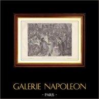 Historia och Monument av Paris - Franska Revolutionen - Gripande av den Kungliga Familjen (1791) | Trästick efter teckningar av H. de La Charlerie, graverade av T. Meyer Heine. 1881