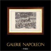 Franska Revolutionen - Retur av den Kungliga Familjen till Paris efter Gripandet i Varennes (1791) | Trästick efter teckningar av H. de La Charlerie, graverade av Hebert. 1881