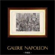 Franska Revolutionen - Konungen Ludvig XVI och den Kungliga Familjen ledde till Temple (1792) | Trästick efter teckningar av H. de La Charlerie, graverade av Blanpain. 1881