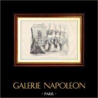 Storia e Monumenti di Parigi - Una Passeggiata sui Boulevard di Parigi al XVIII Secolo | Incisione xilografica su legno incisa da Godard. 1881