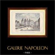 Histoire et Monuments de Paris - Le Châtelet, Côté de la Rue Saint-Denis, en 1780, Passage Voûté Rue Saint-Leufroy | Gravure sur bois gravée par Breton. 1881