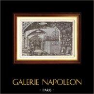 Histoire et Monuments de Paris - Caves du Trésor de la Banque de France (1881) | Gravure sur bois dessinée par G. Bortese, gravée par A. Daudenarde. 1881