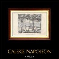 Histoire et Monuments de Paris - Le Café Turc sur le Boulevard du Temple en 1780 | Gravure sur bois dessinée et gravée par E.V. 1881