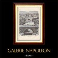 Historia y Monumentos de Paris - Bassin de la Bastille - Cuenca de la Bastilla | Grabado en madera grabado por M. Pin. 1881