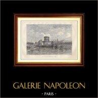 Historia y Monumentos de Paris - Sena - Cuenca del Canal Saint-Martin en Paris (La Villette) | Grabado en madera dibujado por Clerget, grabado por A. Renard. 1881