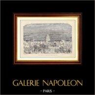 Histoire et Monuments de Paris - La Foire de Saint-Germain des Prés | Gravure sur bois dessinée et gravée par G. Voux. 1881